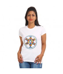 Women's-Hand-Painted-Tee-Colorful-Fishes-On-The-Chest–White