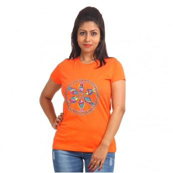 Women's-Hand-Painted-Tee-Colorful-Fishes-On-The-Chest–Orange