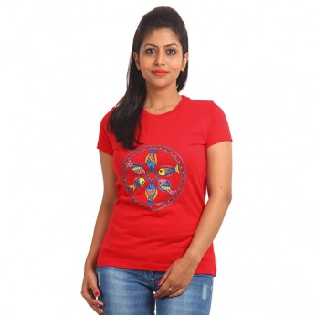 Women's-Hand-Painted-Tee-Colorful-Fishes-On-The-Chest–Red
