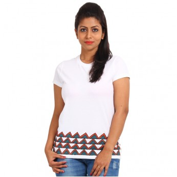 Women's-Hand-Painted-Tee-Aztec-On-The-Border–White