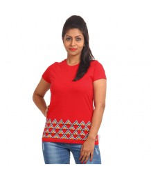 Women's-Hand-Painted-Tee-Aztec-On-The-Border–Red