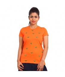 Women's-Hand-Painted-Tee-Small-Flowers-All-Over–Orange