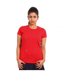 Women's-Hand-Painted-Tee-Small-Flowers-All-Over–Red