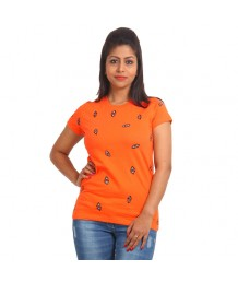 Women's-Hand-Painted-Tee-Triangles-all-over-Orange