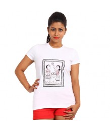 Women's-Hand-Painted-Tee-Tribal-Couple-Monochromatic-White