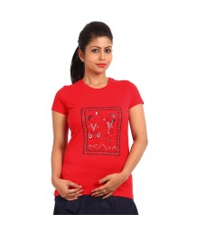 Women's-Hand-Painted-Tee-Tribal-Couple-Monochromatic-Red