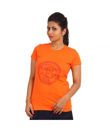 Women's-Hand-Painted-Tee-Monochromic-Fishes-On-The-Chest-Orange