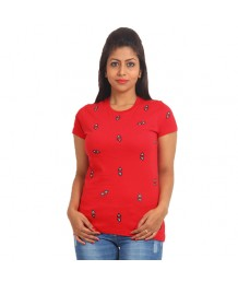 Women's-Hand-Painted-Tee-Triangles-all-over-Red