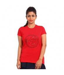 Women's-Hand-Painted-Tee-Monochromic-Fishes-On-The-Chest-Red