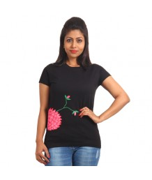 Women's-Hand-Painted-Tee-Lotus-On-The-Side-Black