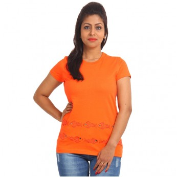 Women's-Hand-Painted-Tee-Fish-On-The-Border-Orange