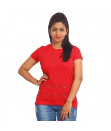 Women's-Hand-Painted-Tee-Fish-On-The-Border-Red