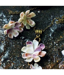 Fleur-Necklace-with-Stud-Zinc-Alloy-Metal-Base-Antique-Bronze-Purple-Coquinnas