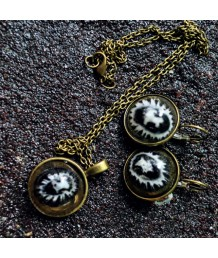 Necklace-Set-with-Drop-Earrings-Zinc-Alloy-Metal-Base-Casting-Resin-Cellana-Radiata