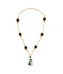 Trapezium Milky Stone with black and copper glass beads