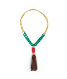 Coral-beads-with-Sea-green-and-brown-tassel